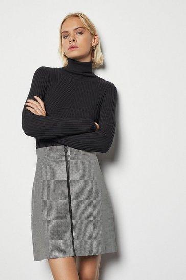 Blackwhite Graphic Stepped Skirt