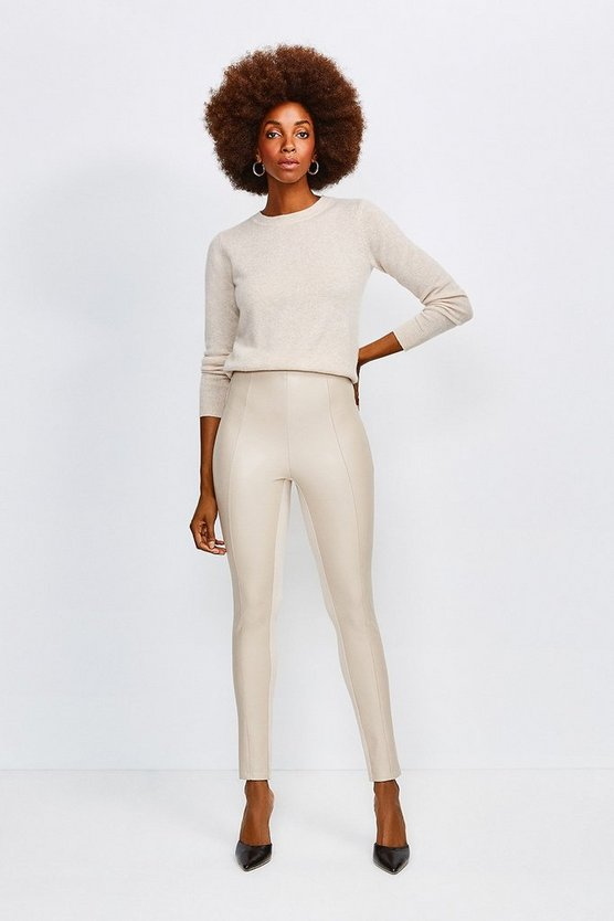 Natural Faux Leather and Ponte Leggings