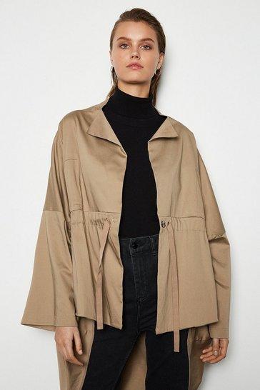 Taupe Draped Hem Parka Coat