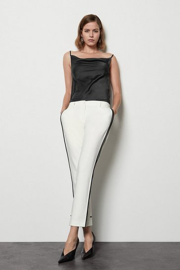 White Tailored Stretch Piped Leg Trouser