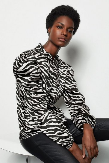 Blackwhite Zebra Print Ruffle Blouse