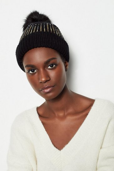 Black Embellished Knitted Hat