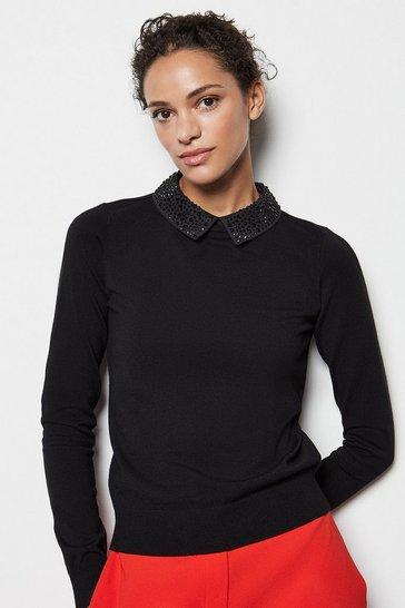 Black Crystal Collar Knit Jumper