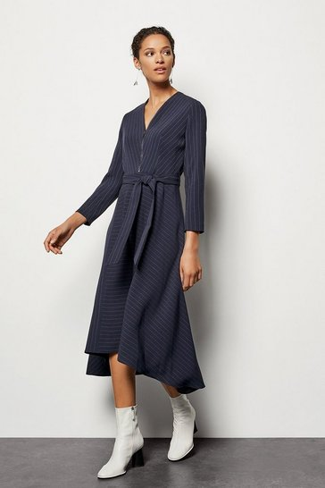 Navy Pinstripe Belted Dress