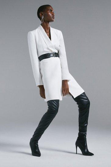 Ivory Tuxedo Wrap Dress