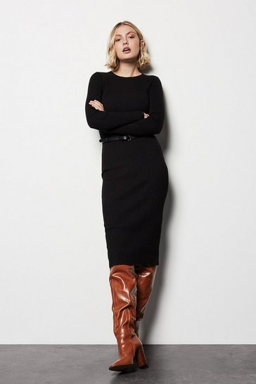 Black Skinny Rib Knit Dress