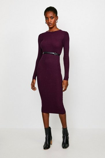 Purple Skinny Rib Knit Dress