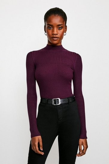 Purple Skinny Rib Knit Jumper
