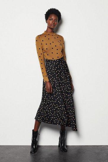 Multi Scattered Dot On Stripe Skirt