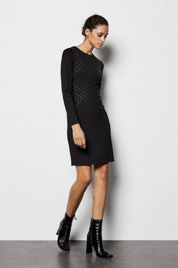 Black Long Sleeve Stud Dress
