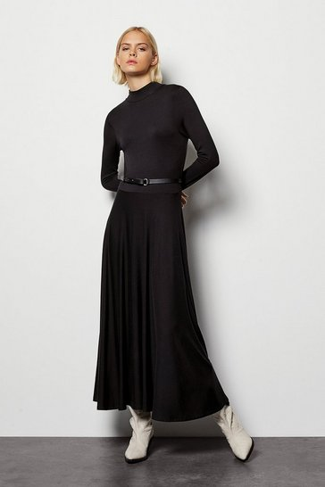 Black Full Hem Jersey Dress