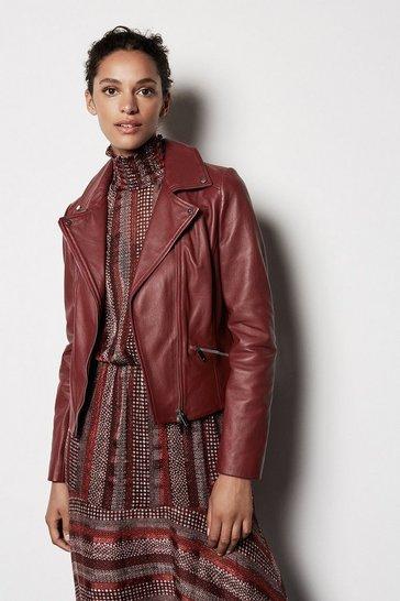 Dark red Leather Biker Jacket