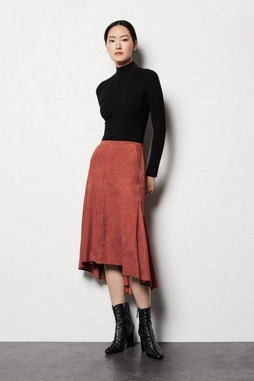 Pink Drape Hem Suede Skirt