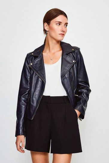 Navy Leather Signature Biker Jacket
