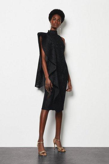 Black Lace Ruffle One Shoulder Midi Dress