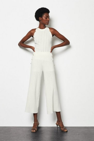 Ivory Rib Knitted Button Detail Co-Ord