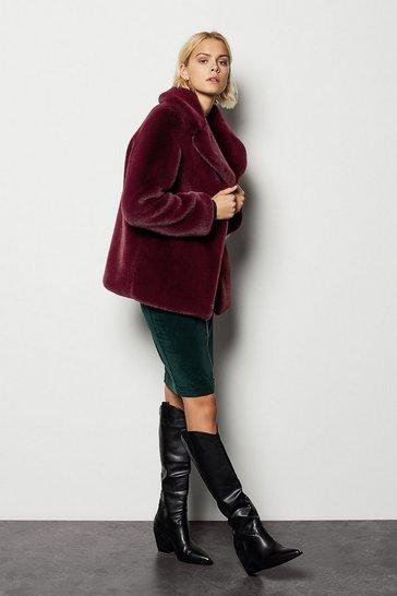 Burgundy Faux Fur Jacket