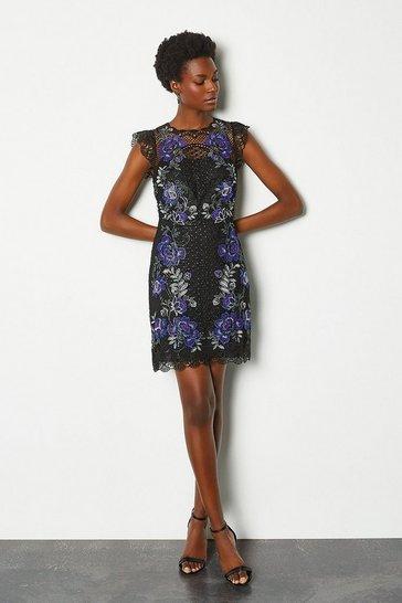 Navy Floral Lace Mini Dress