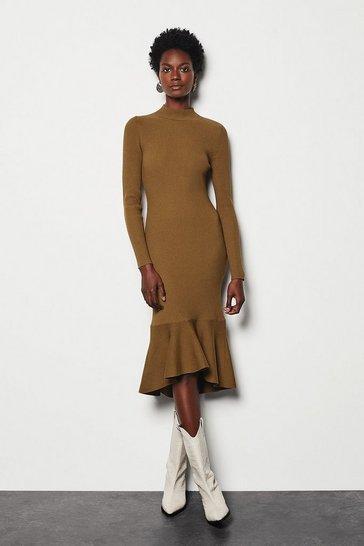 Brown Drape Skirt Rib Knit Dress