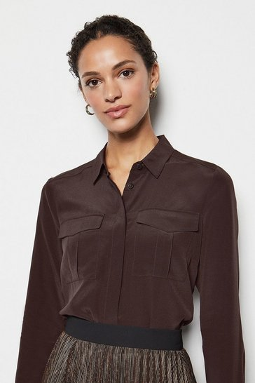 Brown Safari Silk Shirt