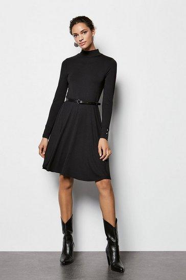 Black Jersey Flared Dress