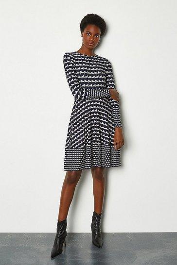 Blue Geo Print Dress