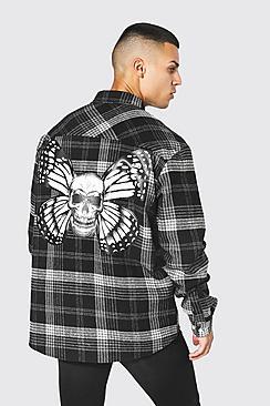 Oversized Skull Butterfly Check Shirt
