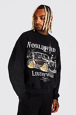 Oversized Worldwide Car Washed Sweatshirt