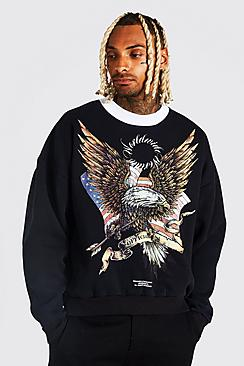Oversized Eagle Graphic Washed Sweatshirt