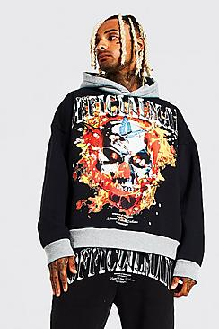 Oversized Official Man Flames Washed Hoodie