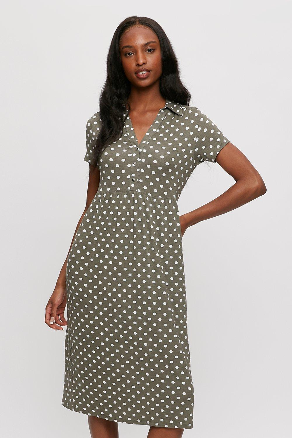 Click to view product details and reviews for Khaki Spot Tiered Shirt Midi Dress.
