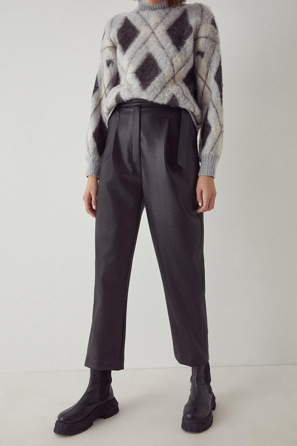 Womens Faux Leather D Ring Peg Trouser