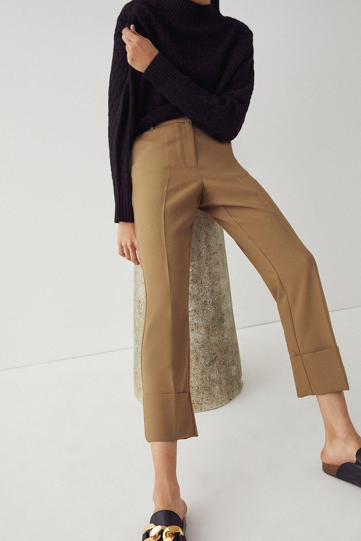 Womens Deep Turn Up Cuff Trouser