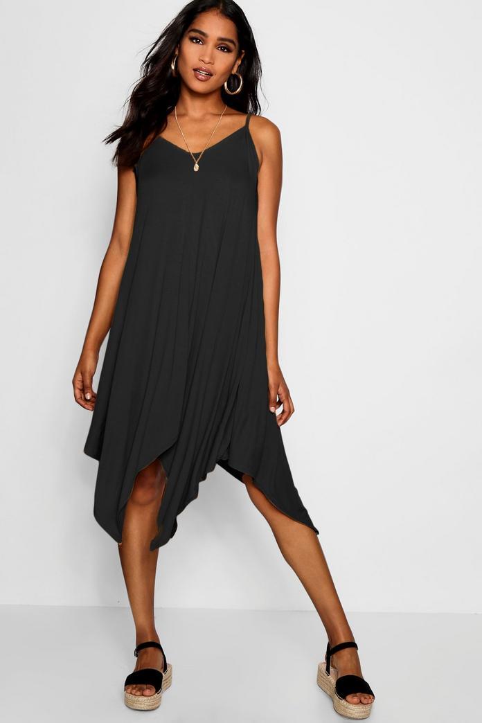 jen asymmetric nem strappy swing dress boohoo With robe trapeze h m
