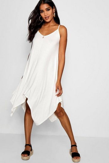 Ivory Asymmetric Hem Strappy Swing Dress
