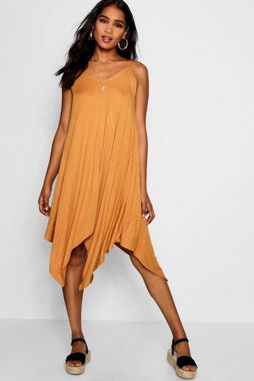 Mustard Asymmetric Hem Strappy Swing Dress
