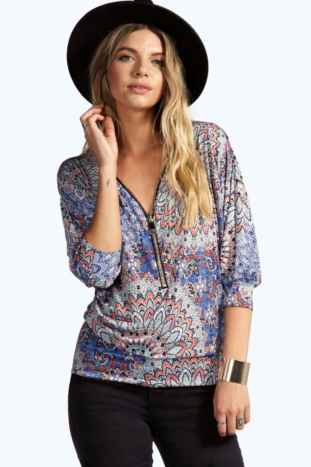 boohoo Tara Printed Zip Tunic - blue
