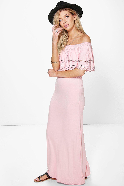 Laser Cut Bandeau Maxi Dress peach
