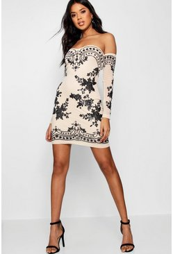 Boutique Eva Embellished Off Shoulder Dress