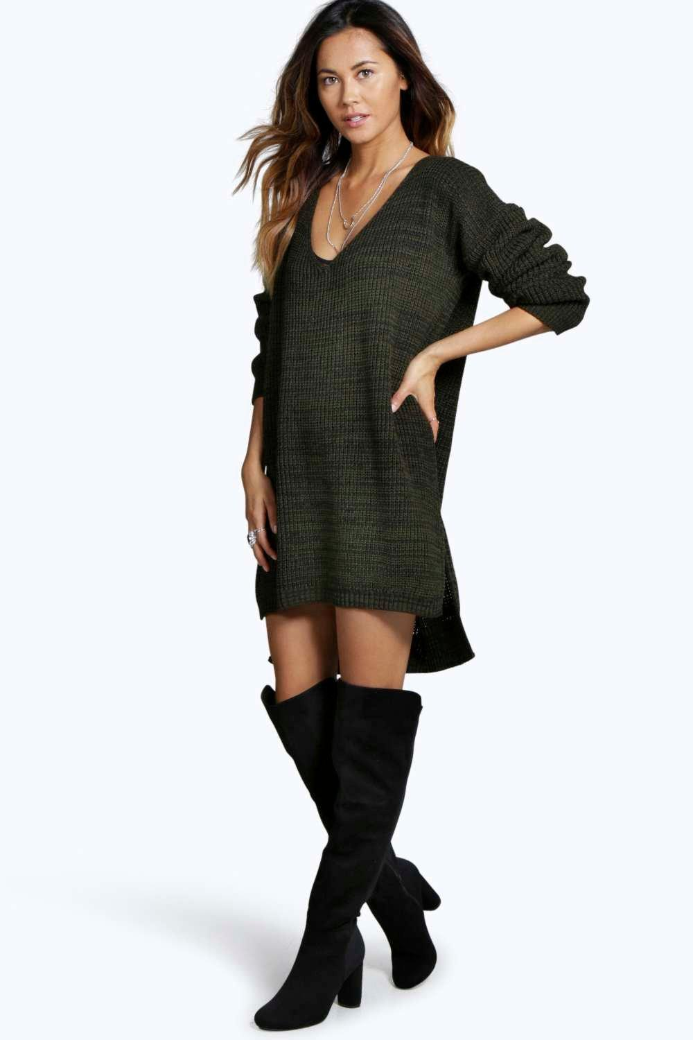 Erica Marl V Neck Jumper Dress