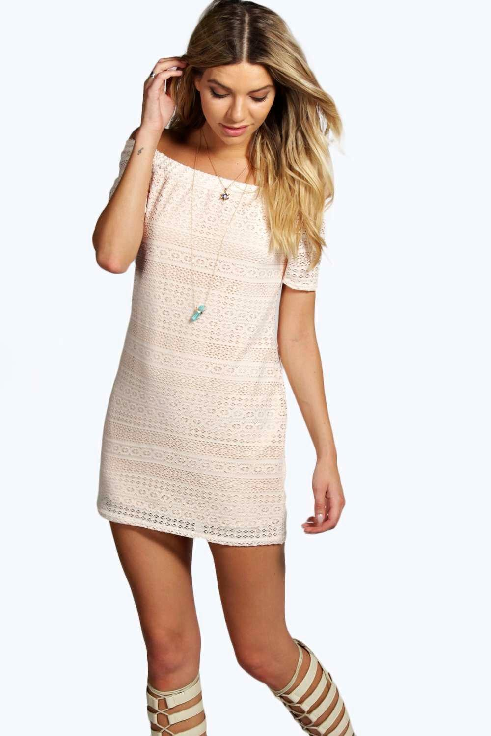 Selina Off Shoulder Crochet A Line Dress
