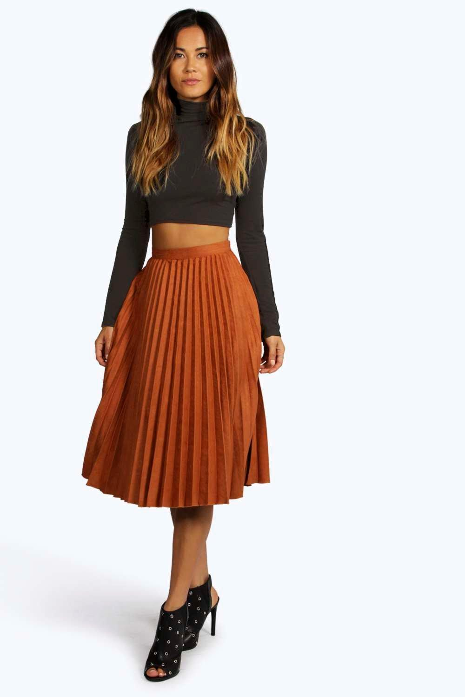 Fiona Faux Suede Pleated Midi Skirt | Boohoo