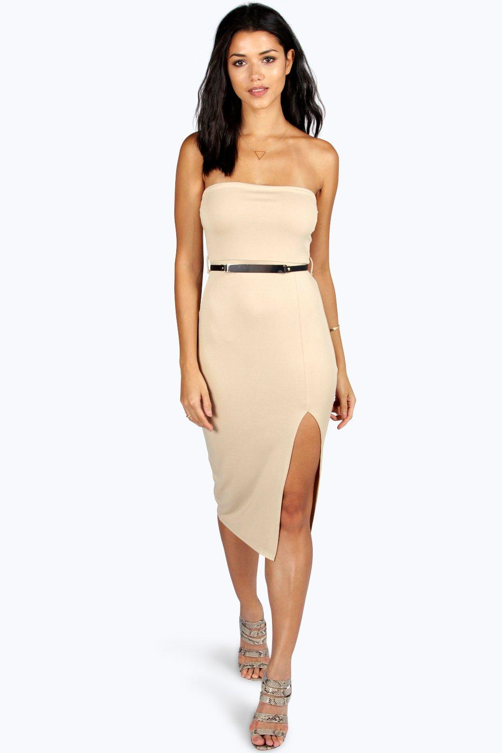 Claire Bandeau Belted Midi Bodycon Dress