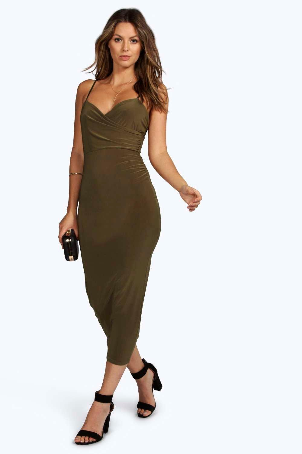 Serena Wrap Bust Rouched Slinky Midaxi Dress
