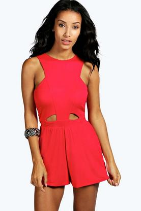 Carley Cut Out Front High Neck Playsuit