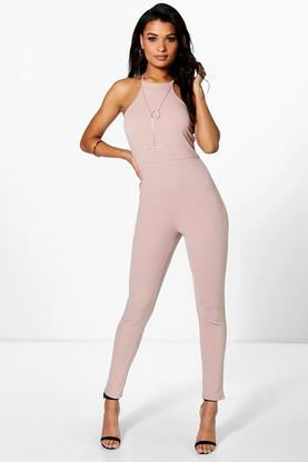 Taylor Textured Crepe Strappy Jumpsuit