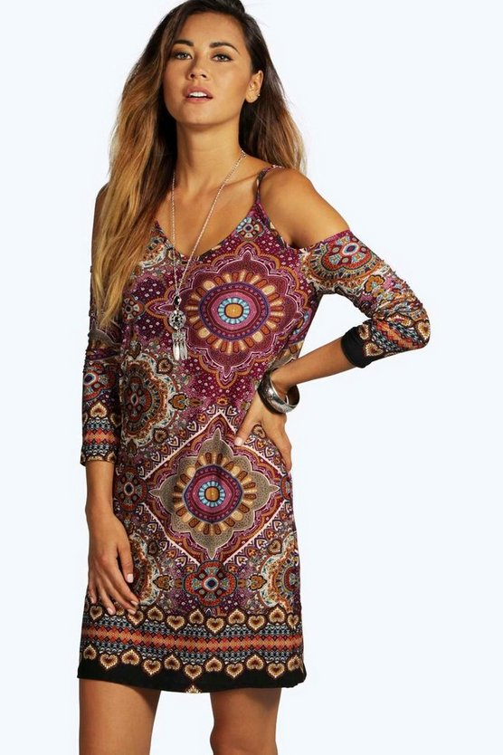 Sanna Cold Shoulder Tile Print Dress