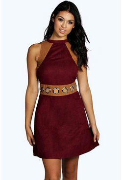 Carrie Boutique Contrast Suedette Eyelet Dress