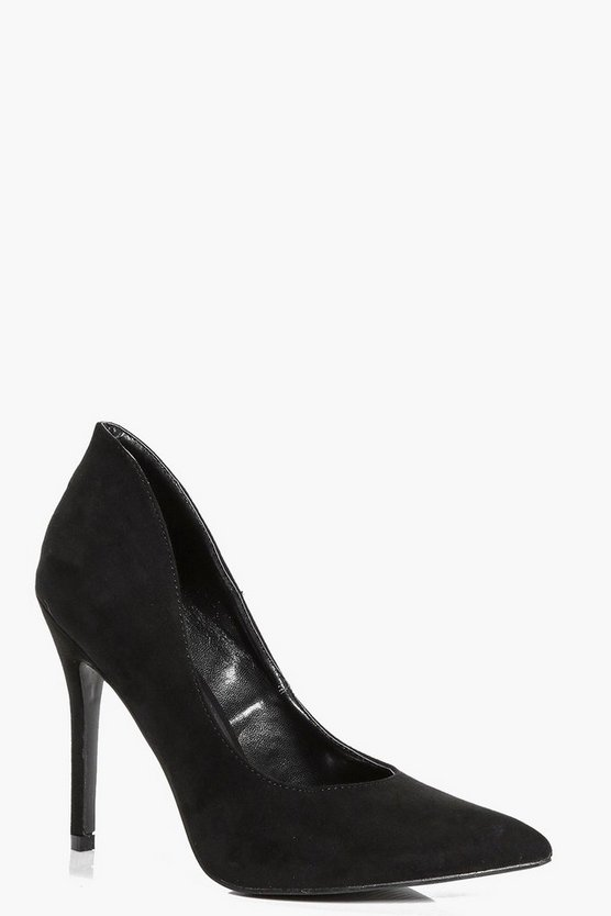 Hallie Shaped Suedette Pointed Court Heels