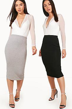 Cate Two Pack Basic Jersey Midi Skirts